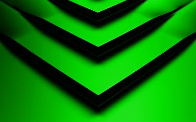 green 3D arrow, 4k, creative, geometric shapes, arrows, 3D arrows, green backgrounds, green arrows, geometry, background with arrows