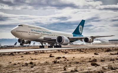 Flying Boeing 777X, HDR, airplane, Boeing 777X, airliner, General Electric GE9X, airport, passenger planes, Boeing, 777X
