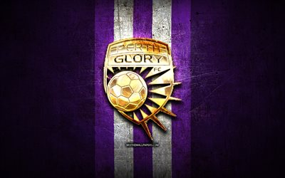 Perth Glory FC, golden logo, A-League, violet metal background, football, Perth Glory, Australian football club, Perth Glory logo, soccer, Australia