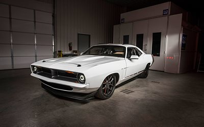 Plymouth Barracuda, 1970, white coupe, front view, exterior, tuning Barracuda, american cars, Plymouth