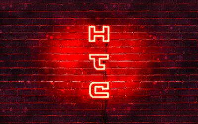 4K, HTC red logo, vertical text, red brickwall, HTC neon logo, creative, HTC logo, artwork, HTC