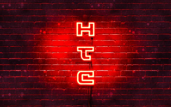 4K, HTC röd logo, vertikal text, red brickwall, HTC neon logotyp, kreativa, HTC-logotypen, konstverk, HTC