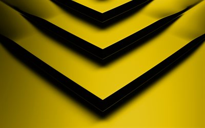 yellow 3D arrow, 4k, creative, geometric shapes, arrows, 3D arrows, yellow backgrounds, yellow arrows, geometry, background with arrows