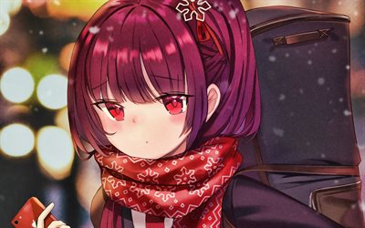 Wa2000, winter, Girls Frontline, artwork, SRPG, manga, Girls Frontline characters, Wa2000 Girls Frontline