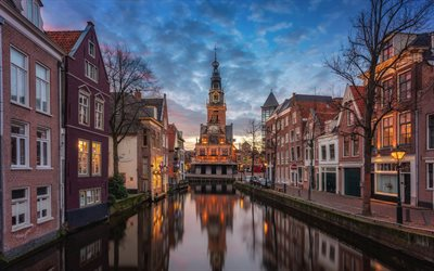 Alkmaar, evening, sunset, chapel, canals, North Holland, Netherlands