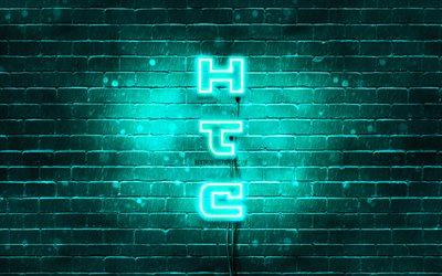 4K, HTC turquoise logo, vertical text, turquoise brickwall, HTC neon logo, creative, HTC logo, artwork, HTC