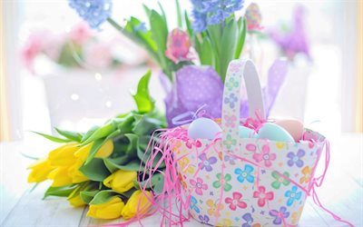 Easter, basket with Easter eggs, yellow tulips, spring, Easter decoration, bouquet of tulips, spring flowers