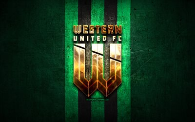 Western United FC, golden logo, A-League, green metal background, football, Western United, Australian football club, Western United logo, soccer, Australia
