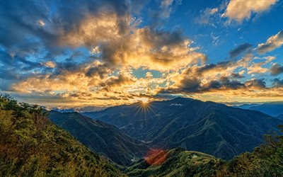 4k, Taiwan, sunset, mountains, beautiful nature, forest, thai nature, summer, Asia
