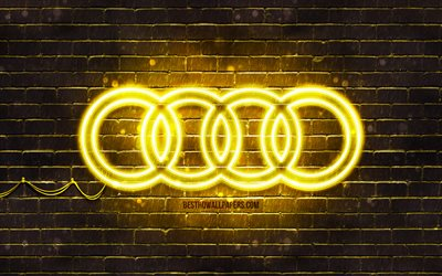 Audi yellow logo, 4k, yellow brickwall, Audi logo, cars brands, Audi neon logo, Audi