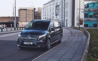 Mercedes-Benz V 300, 4k, street, Br447, 2020 cars, minibuses, UK-spec, 2020 Mercedes-Benz V-class, german cars, Mercedes