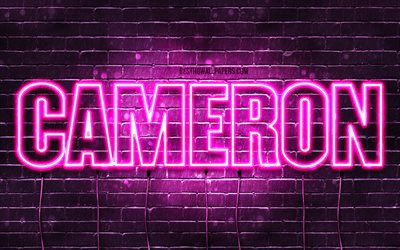 Cameron, 4k, wallpapers with names, female names, Cameron name, purple neon lights, horizontal text, picture with Cameron name