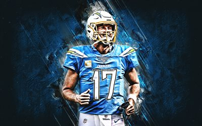 Philip Rivers, Los Angeles Chargers, NFL, portrait, blue stone background, american football, National Football League, USA