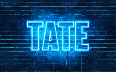 Tate, 4k, wallpapers with names, horizontal text, Tate name, blue neon lights, picture with Tate name