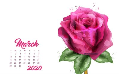 2020 March Calendar, pink grunge rose, 2020 spring calendars, March, 2020 concepts, roses, March 2020 Calendar