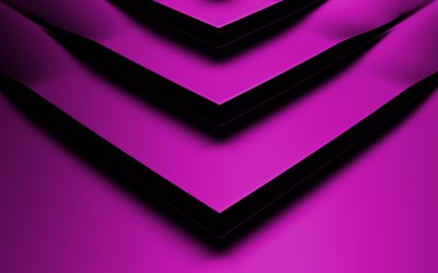 violet 3D arrow, 4k, creative, geometric shapes, arrows, 3D arrows, violet backgrounds, violet arrows, geometry, background with arrows