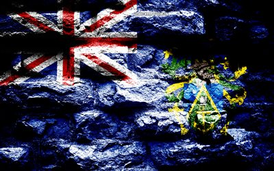 Pitcairn Islands flag, grunge brick texture, Flag of Pitcairn Islands, flag on brick wall, Pitcairn Islands, flags of Oceania countries