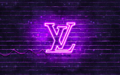 Louis Vuitton violet logo, 4k, violet brickwall, Louis Vuitton logo, brands, Louis Vuitton neon logo, Louis Vuitton