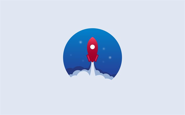 Rocket taking off, 4k, minimal, Start-up concepts, gray backgrounds, Flying rocket, creative, rocket minimalism, rockets