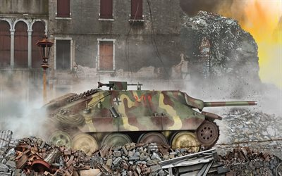 Hetzer, Jagdpanzer 38, German tank destroyer, Second World War, Germany, World War II tanks, painted tanks