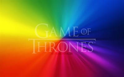 Game Of Thrones logo, 4k, vortex, rainbow backgrounds, creative, artwork, TV Series, Game Of Thrones