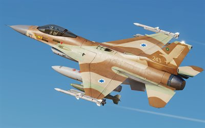 General Dynamics F-16A Fighting Falcon, F-16, Israeli Air Force, Netz 107, Israeli fighter, combat aircraft, Israel