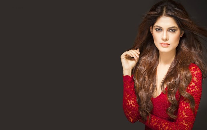 Asha Bhat, Indian model, Makeup, brown-haired, beautiful woman, red jacket