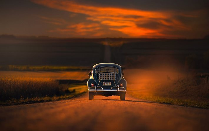 Travel, concepts, freedom, car, road, sunset, Chrysler