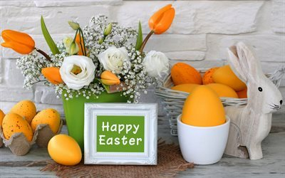Easter, spring, white roses, bouquet, easter eggs, orange tulips
