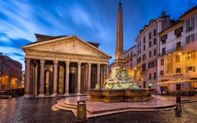 Pantheon, Rome, night, square, fountain, Marco Vispanio Agrippa, Italy