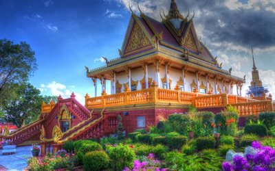 Asia, Buddhist temple, flowers, summer, Thailand, HDR
