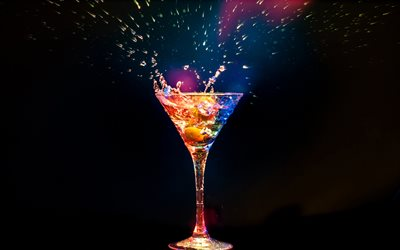cocktail, cocktail glass, splashes, neon light, martini
