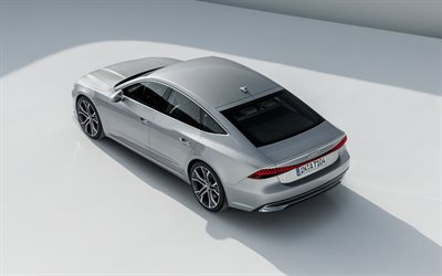 Audi A7 Sportback, 2019, 4k, exterior, rear view, new German cars, new silver A7, Audi