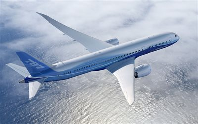 Boeing 787 Dreamliner, 4k, jet passenger plane, top view, air travel concepts, Boeing
