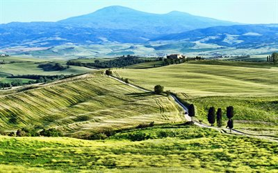 Tuscany, wheat fields, travel in Italy, summer, hills, Pienza, Italy, HDR