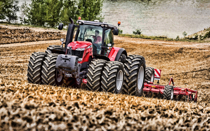 Massey Ferguson MF 8737, 4k, plowing field, 2019 tractors, crawler, agricultural machinery, harvest, red tractor, HDR, agriculture, tractor in the field, Massey Ferguson