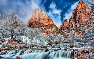 USA, Zion national park, winter, waterfall, beautiful nature, mountains, american landmarks, Utah, HDR, America, winter landscapes