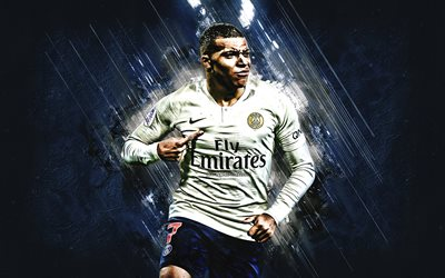 Kylian Mbappe, PSG, French football player, young football star, Paris Saint-Germain, striker, 7th number, Ligue 1, France, football, creative art, blue creative background