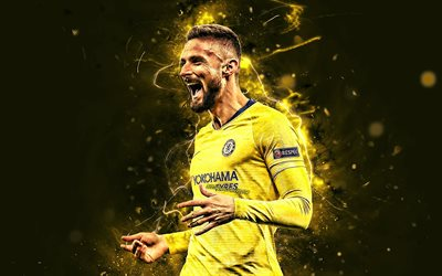 Olivier Giroud, yellow uniform, Chelsea FC, french footballers, joy, soccer, Giroud, Premier League, goal, football, neon lights, England