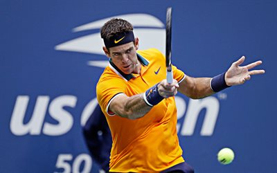 4k, Juan Martin del Potro, yellow uniform, Argentine tennis players, close-up, ATP, match, athlete, Delpo, tennis, HDR