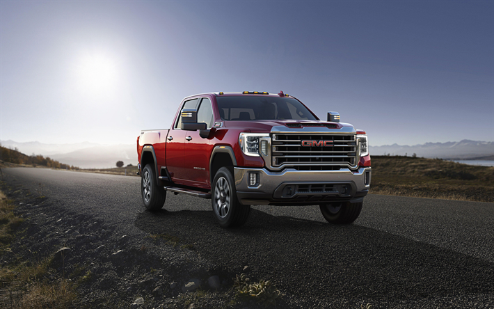 4k, GMC Sierra 2500 HD, road, 2019 cars, red pickup, 2019 GMC Sierra 2500 HD SLT Crew Cab, american cars, GMC