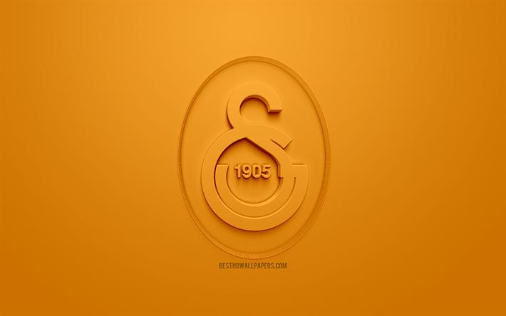 Indir Duvar Kağıdı Galatasaray Sk Yaratıcı 3d Logo Turuncu Arka