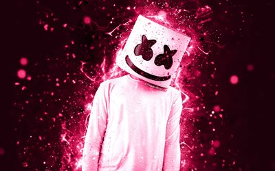 DJ Marshmello, 4k, pink neon, american DJ, Christopher Comstock, creative, Marshmello DJ, superstars, fan art, Marshmello, DJs