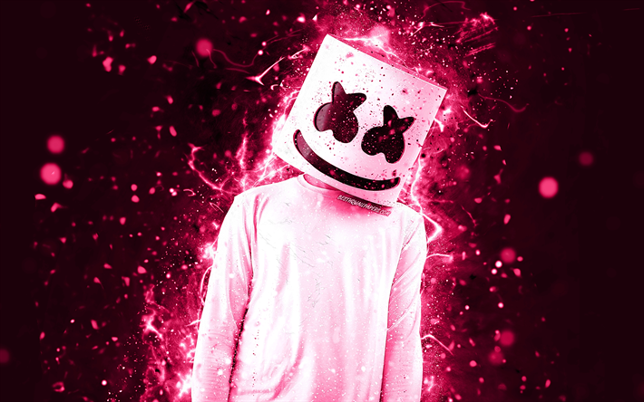 DJ Marshmello, 4k, rosa neon, american DJ, Christopher Comstock, creativo, Marshmello DJ, superstar, fan art, Marshmello, Dj