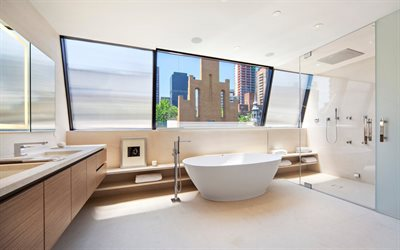 stylish bathroom interior, modern interior design, bathroom with large windows, stylish interior