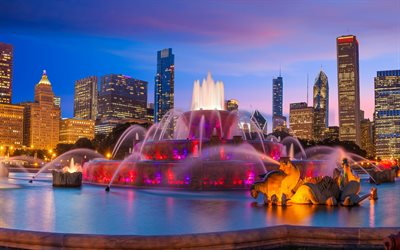 Buckingham Fountain, Chicago, Grand Park, evening, beautiful fountain, cityscape, skyscrapers, Illinois, USA