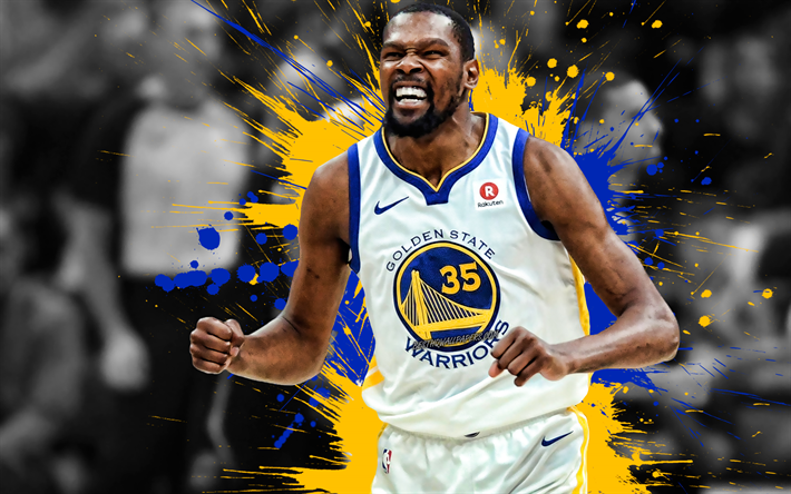 Kevin Durant, American basketball player, Golden State Warriors, blue yellow paint splashes, creative art, NBA, USA, basketball, National Basketball Association, grunge