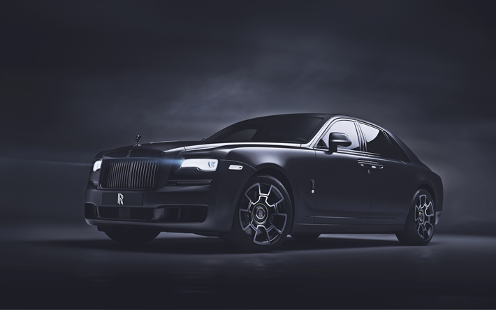 4k, Rolls-Royce Ghost Black Badge, tuning, 2019 cars, luxury cars, darkness, 2019 Rolls-Royce Ghost, british cars, Rolls-Royce