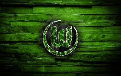 Wolfsburg FC, logotipo fiery, la Bundesliga, la green wooden background, spanish football club, el grunge, el Wolfsburgo, football, soccer, Wolfsburg logotipo, fire textura, Germany