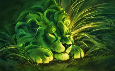 grenn lion, predator, king of beasts, fantastic forest, cartoon lion, artwork, lion